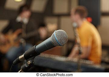 גיטרה, התמקד, מקלדות, שחקן, microphone., out