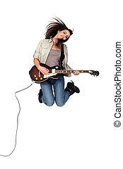 גיטרה, ילדה, לקפוץ