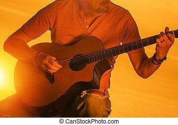 גיטרה, מוסיקאי, לשחק