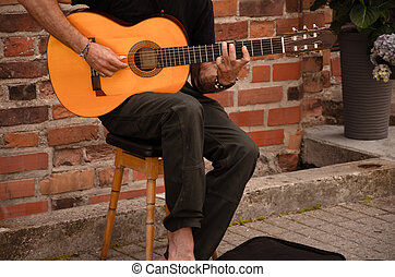 גיטרה, מוסיקאי, רחוב, לשחק