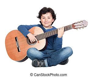 גיטרה, מוסיקה, לשחק, סטודנט