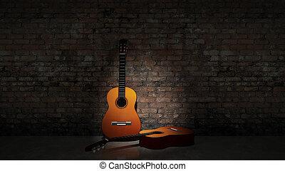 גיטרה, מלוכלך, אקוסטי, *w*, לסמוך