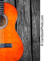 גיטרה, עץ, רקע, ספרדי