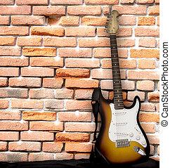 גיטרה, קיר, לסמוך