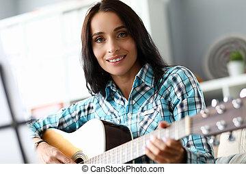גיטרה, שחק, מושלם, ללמוד, נקבה