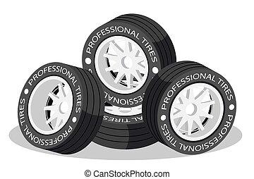 גלגל, איזומטרי, הפרד, צמיגים, מכונית., ספורט, 3d