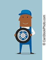 גלגל כחול, מדים, מכונאי, מכונית