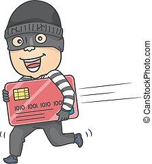גנב, איש, כרטיס, זכה