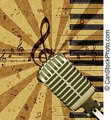 גראנג, מיקרופון, מוסיקה, רקע