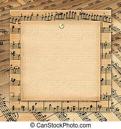 גראנג, מסגרת, book., רקע., מוסיקה, invitations.