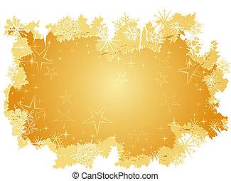 גראנג, רקע, השלג, זהוב, כוכבים, פתיתים