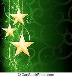 גראנג, רקע, השלג, elements., חג המולד, חגיגי, זהוב, ירוק, חושך, כוכבים, פתיתים