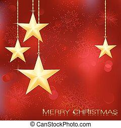 גראנג, רקע, השלג, elements., חג המולד, חגיגי, זהוב, כוכבים, אדום, פתיתים