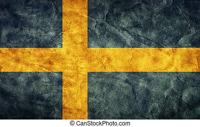 גראנג, flag., בציר, פריט, שבדיה, דגלים, ראטרו, אוסף, שלי