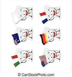דגלים, ציור היתולי, ארצות, שונה, כובע של טבח, הבא, אופי