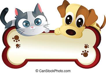 דגל, כלב, חתול