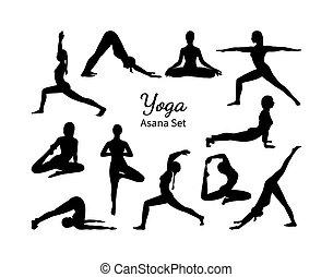 דוגמה, אסאנה, העבר, להתאמן, צייר, יוגה, set., yoga., צלליות, וקטור, נקבה, רשום, קבע
