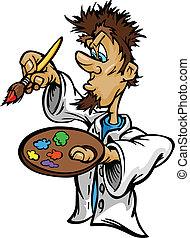 דוגמה, וקטור, צחצח, ציור היתולי, צייר, אומנותי