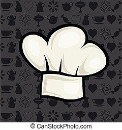 דוגמה, כובע של טבח, סיגנון, וקטור, ציור היתולי