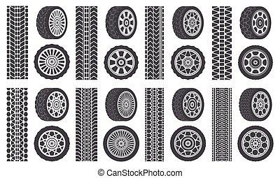 דוגמה, עוקב, עקוב, מכונית, מכונית, צעד, tires., הפרד, גומי, רכב, צמיגים, מכונית, tracks., גלגל, סמלים, rims, קבע
