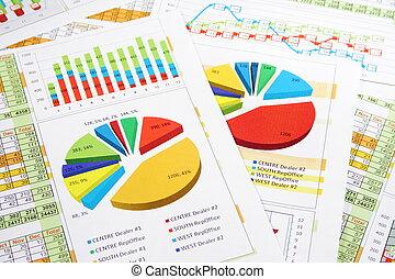דווח, גרפים, סיפרות, טבלות של מכירות