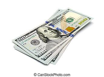 דולרים, הפרד, מישהו, שטרות בנק, רקע, לבן, מאות