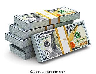 דולר, אותנו, שטרות בנק, חדש, 100, ערימות