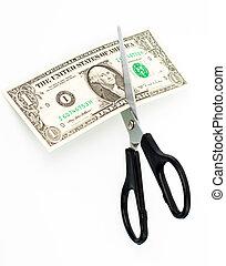 דולר, מישהו, ראה, אמריקאי, חתכים, מספריים