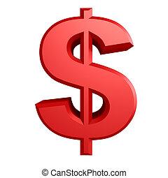 דולר, iillustration, חתום