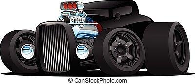 *דו מושבי, מכונית, וקטור, מוט, חם, בציר, ציור היתולי, דוגמה, מנהג