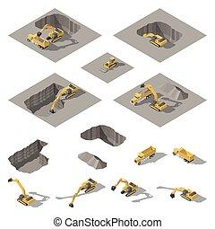 דחפור, קבע, חופר, איזומטרי, חופר, אתר של בניה, גרען, איקון