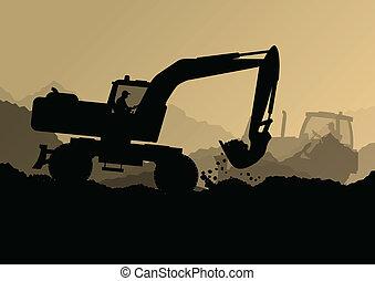 דחפור, תעשיתי, לחפור, חופר, עובדים, אתר, דוגמה, טרקטורים, וקטור, רקע, בניה, לואדארס