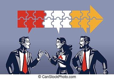 דיון, עסק, שלושה, בעל, כחול, אנשים, synchronous, צוארון, מושג, דוגמה