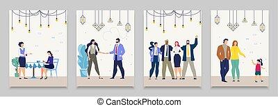 דירה, חיים, קבע, אנשים של עסק, מצבים, וקטור