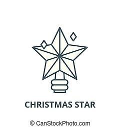 דירה, מושג, ככב, תאר, חתום, דוגמה, סמל, vector., איקון, קו, חג המולד