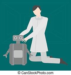דירה, מעצב, מומחה, רובוטיקה, זה, רובוט, עתיד, מכונאי, profession., בית, occupation., טכנולוגיה, עתידי, הנדס
