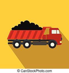 דירה, משאית, השלך, איקון