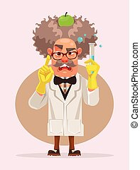 דירה, משוגע, אופי, דוגמה, flask., מדען, וקטור, להחזיק, ציור היתולי, איש