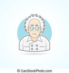 דירה, משוגע, צבע, נארד, הסתכל, כולל, style., בן אדם, מדען, avatar, icon., משקפיים, תאר, illustration.