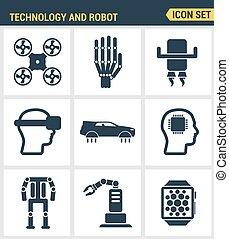 דירה, סיגנון, קבע, פרמיה, פיכטוגראם, איכות, סמל, מודרני, הפרד, מלאכותי, robot., עתיד, עצב, אוסף, רקע, איקונים, לבן, חכם, טכנולוגיה