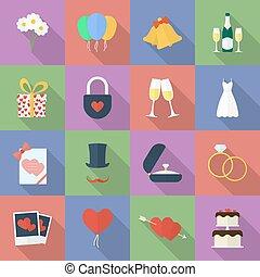 דירה, סיגנון, קבע, icons., חתונה