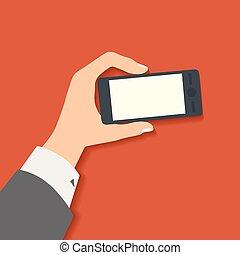 דירה, סיגנון, illustration., עסק, הפרד, העבר, וקטור, עצב, חכם, רקע, להחזיק, טלפן., אדום