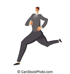 דירה, עסק, למהר, אופי, הפרד, דוגמה, לרוץ, רקע., suit., וקטור, businessman., לבן, איש, סיגנון
