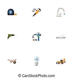 דירה, קבע, חשמלי, elements., איקונים, objects., מברג, כולל, סמלים, גם, וקטור, מדוד, של אוויר, בניה, אחר, נורת חשמל