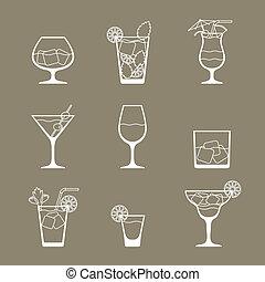דירה, קבע, כוהל, קוקטיילים, עצב, איקון, style., שותה