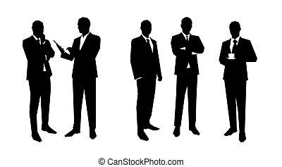 דירה, קבע, קבץ, עסק, מורה, בוס, אנשים., גברים, סדר, פוליטיקאי, poses., וקטור, מכירות, צלליות, מנהל, עורך דין, שונה, illustrations.