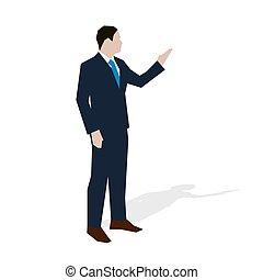 דירה, illustration., עסק, בוס, מורה, וקטור, עורך דין, מנהל, איש