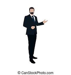 דירה, presentation., דוגמה של עסק, וקטור, איש