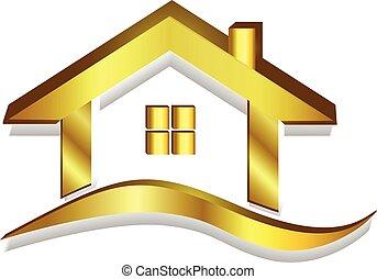 דיר, זהב, לוגו, וקטור, 3d