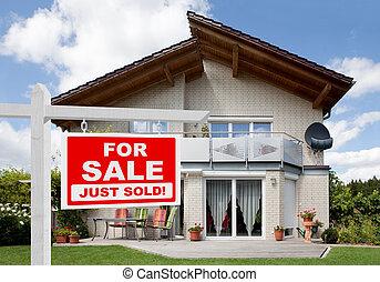 דיר, מכור, סימן של מכירה, חזית, בית